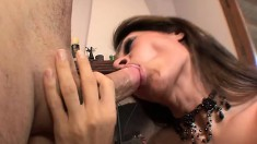 Sexy Raylene Nichalson blows dick and gets nailed in her lingerie and eats cum